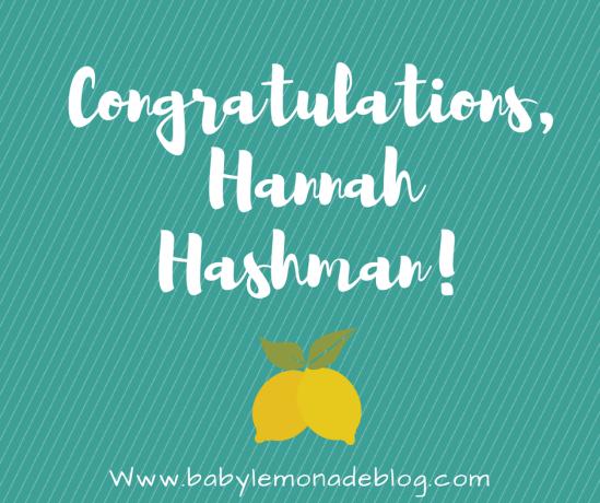 Congratulations, Hannah!
