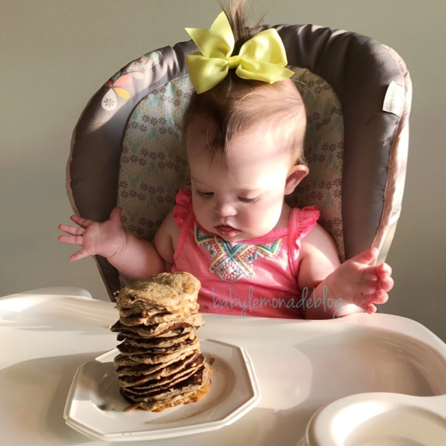 Kara ready and excited to chow down on her stack of healthy baby pancakes