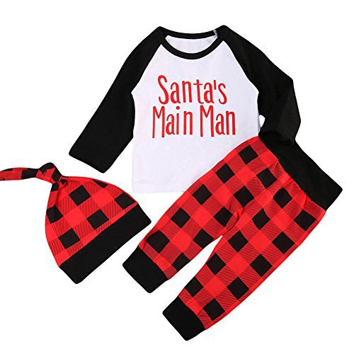 Baby Boy Girl Santa's Main Men 1st Birthday Tshirt Long Sleeve Top + Red Plaid Pant + Hat 3pcs Christmas Outfits
