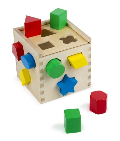 classic wooden shape sorting cube by melissa and doug
