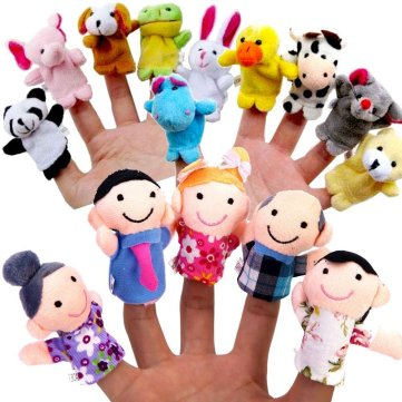Finger Puppet Set - [The Original by Yabber 16 Pack Full Set] 10 Animals + 6 People Family Members [An American Company]