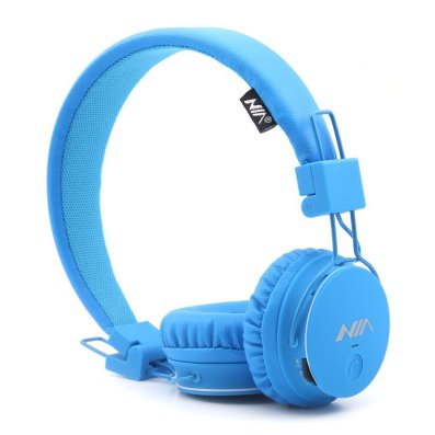 GranVela X2 Multifunctional Wireless Headphones Foldable On-Ear Bluetooth Headphones with Micro SD Card Player FM Radio Built-in Microphone Kids Headphones Blue