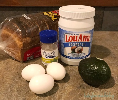 what you'l need: bread, oregano, coconut oil, 3 eggs and 1 avocado