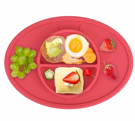 Silicone Baby Plate Safe Mini Feeding Placemat For Toddler,Kids,Infant With Strong Suction , FDA Approved, BPA Free (Watermelon Red)