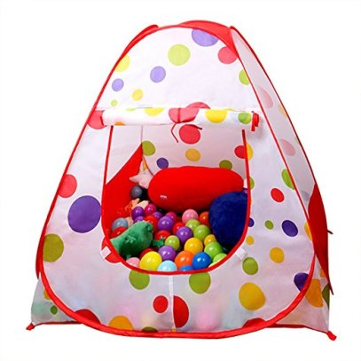EocuSun Children Kids Play Tent Tents House Pop Up Outdoor Indoor Ball Pit Baby Beach Tent Playhouse w Zipper Storage Case for Boys Girls (Polka Dot)