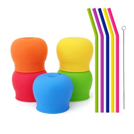 Tougs Silicone Straw Cup Lids for Toddlers Babies Pack of 5 - 5 Drinking Straws Included - Reusable Spill-proof Durable - Stretches to Cover Tumblers Yeti Rambler Mason Jars Cups