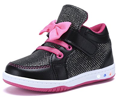YILAN YL313 Toddler Glitter Shoes Girl's Flashing Sneakers With Cute Bowknot